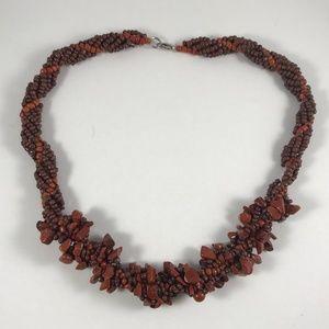 Vintage Coral Necklace, Red Coral Necklace